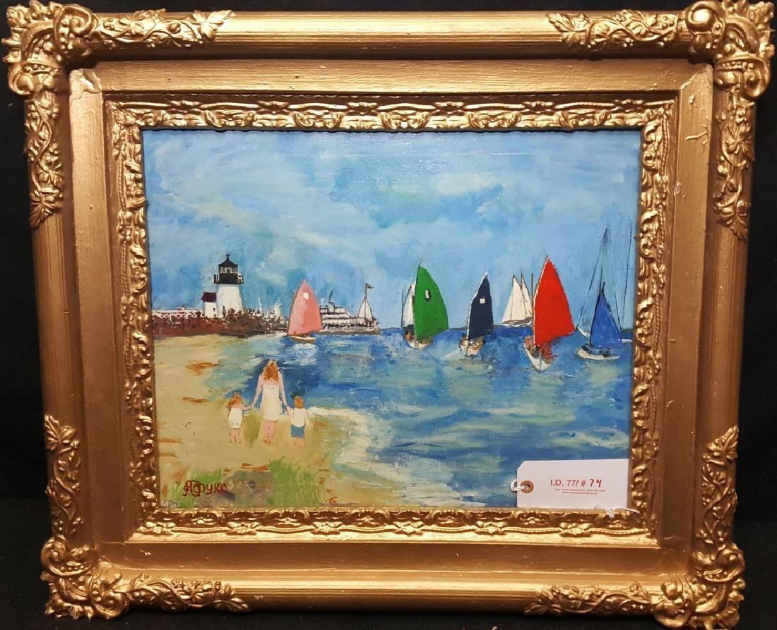 Oil on Canvas Lighthouse Scene - 2
