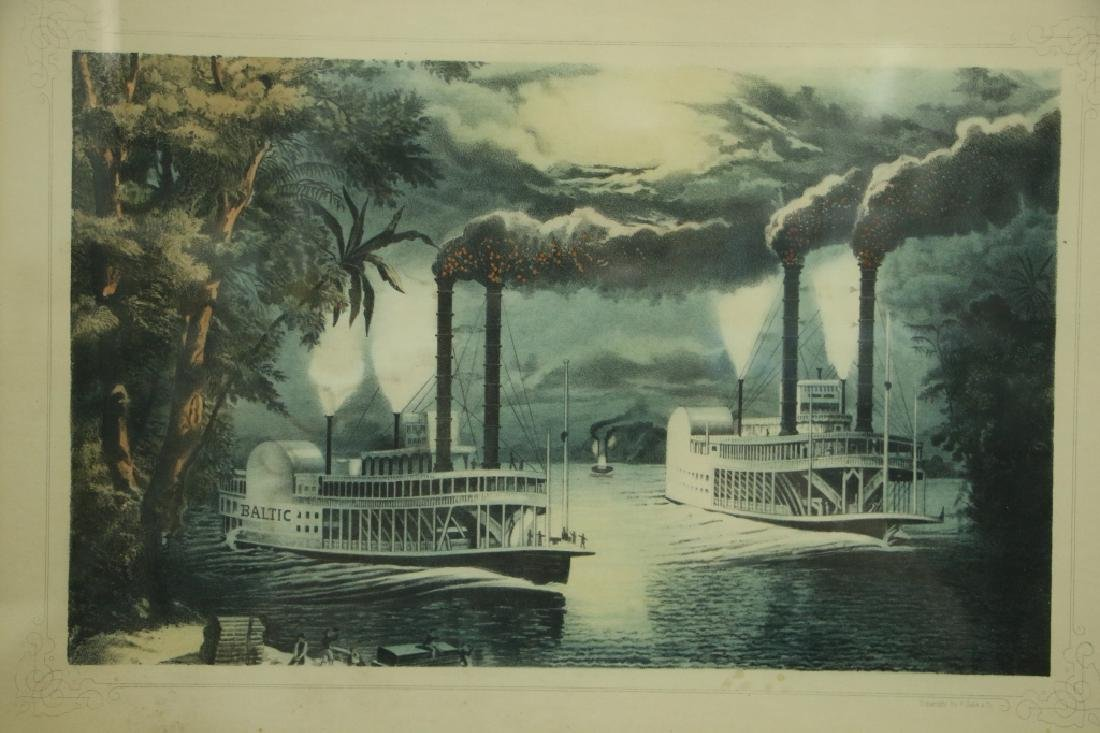 """Antique Print. """"Match at the Mississippi"""""""