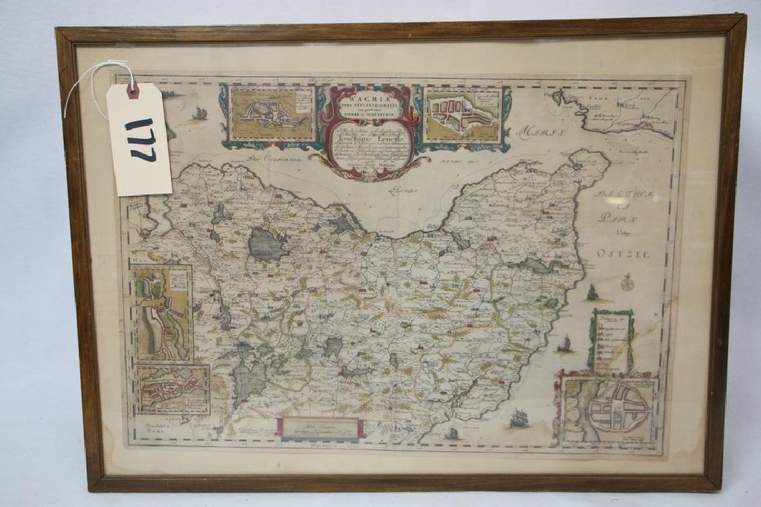 Map, Wagria by J. Blaeu.  1662
