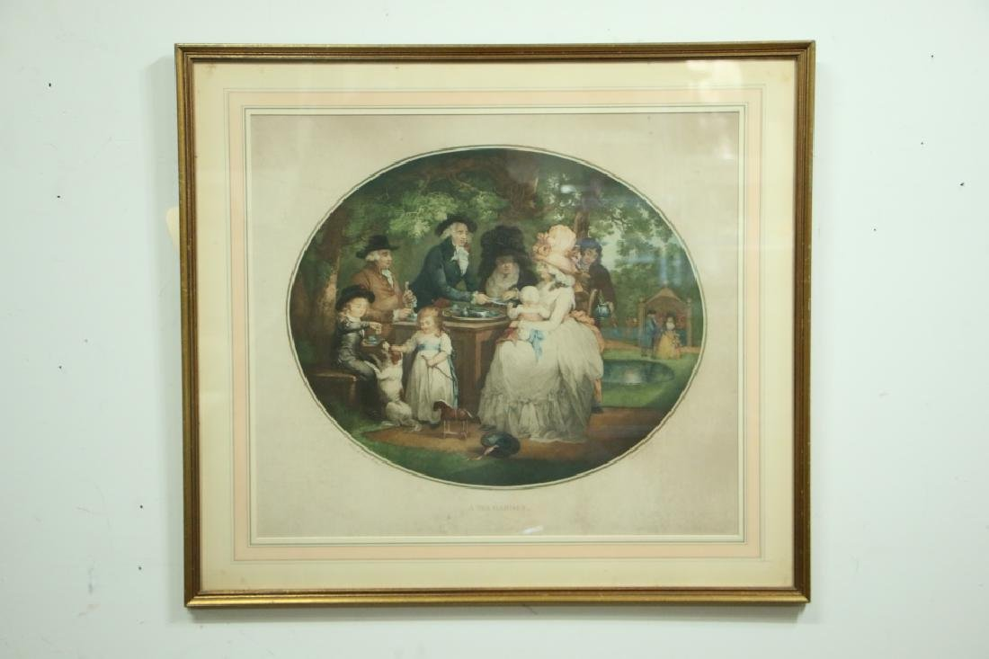 "Antique Print. ""A Tea Garden""."