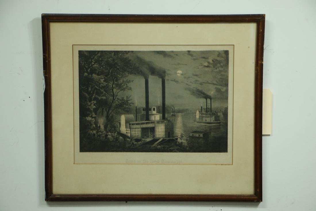 """Antique Print Riverboat """"Scene on the Lower"""