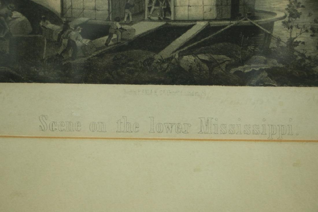 """Antique Print Riverboat """"Scene on the Lower - 2"""