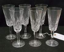 6 Waterford Crystal Lismore Champagne Flutes