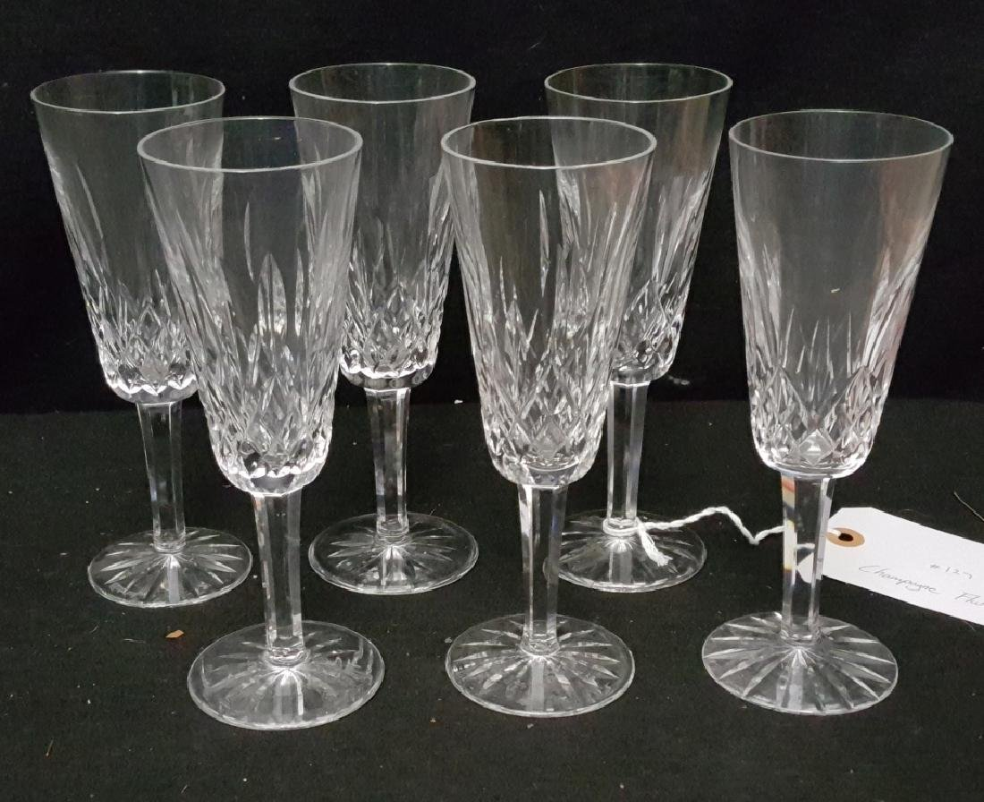 (6) Waterford Crystal Lismore Champagne Flutes