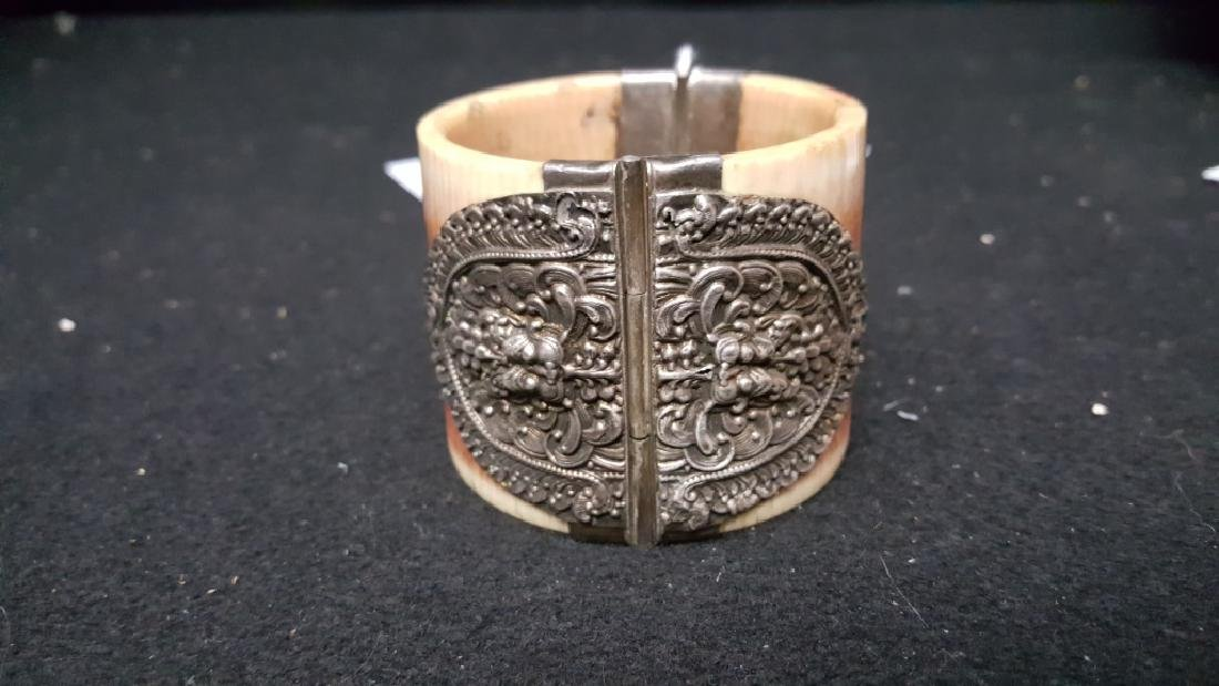 Turn of the century Bone and Silver Bangle