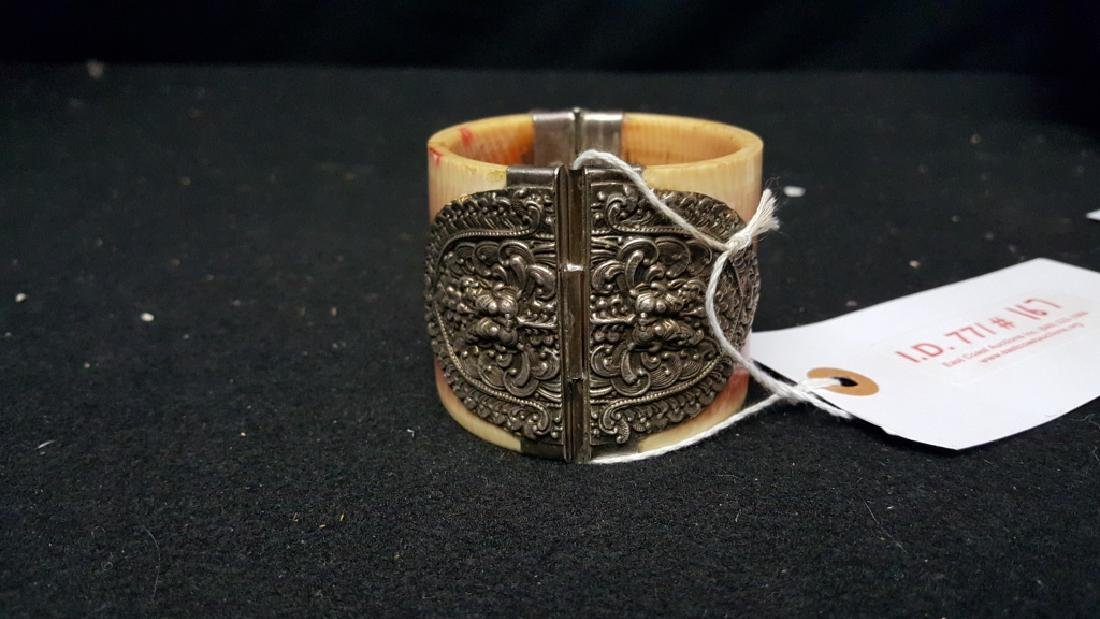 Turn of the century Bone and Silver Bangle - 2