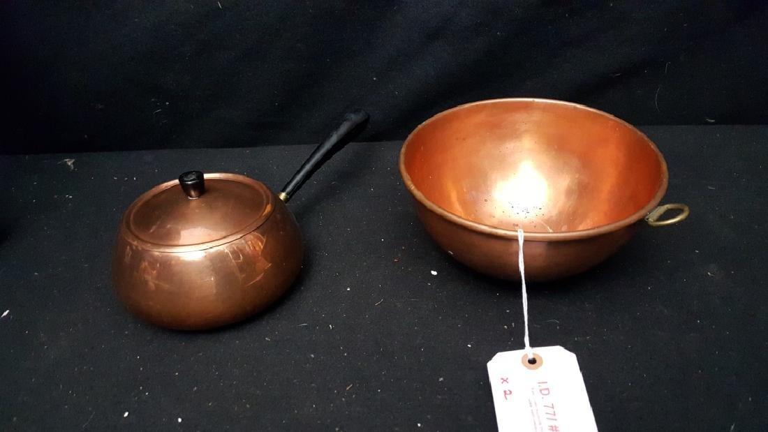 Mettawa Poland copper Fondue pot and Mixing Bowl