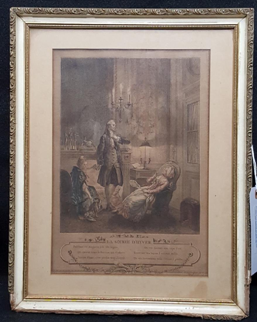 """Antique French Engraving """"La Soiree D' Hyver"""""""