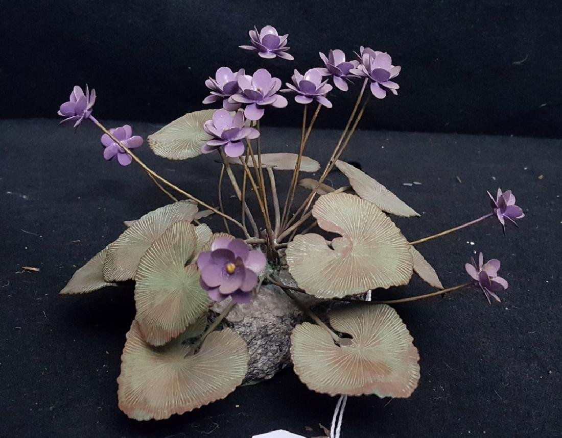 Vintage Painted Copper Lavender Flower