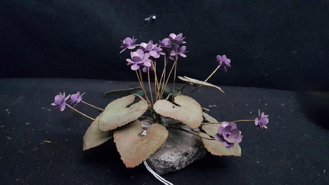 Vintage Painted Copper Lavender Flower - 2
