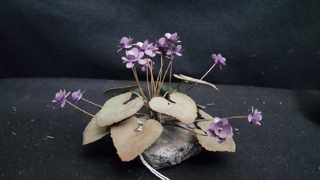 Vintage Painted Copper Lavender Flower - 3