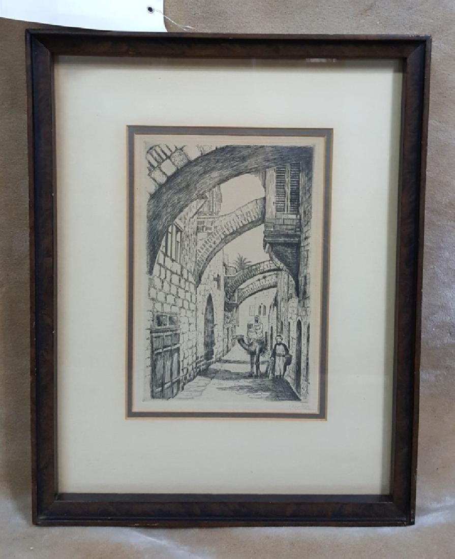 """J. Eisenberg """"Jerusalem"""" Pencil Signed"""