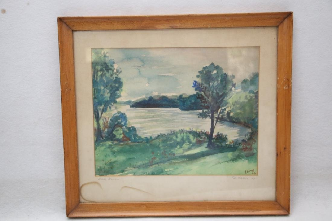 """Watercolor """"Loch Raven"""" (MD?) Dated 1949"""