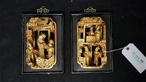 Chinese Hand Carved Gilt Wood Hanging Panels