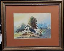 """Artist Signed Watercolor by Frank? """"Farm House"""""""