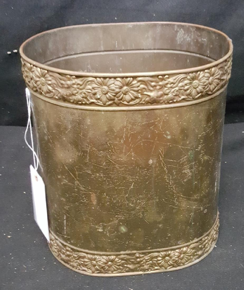 Brass Coal Scuttle with Floral Rim