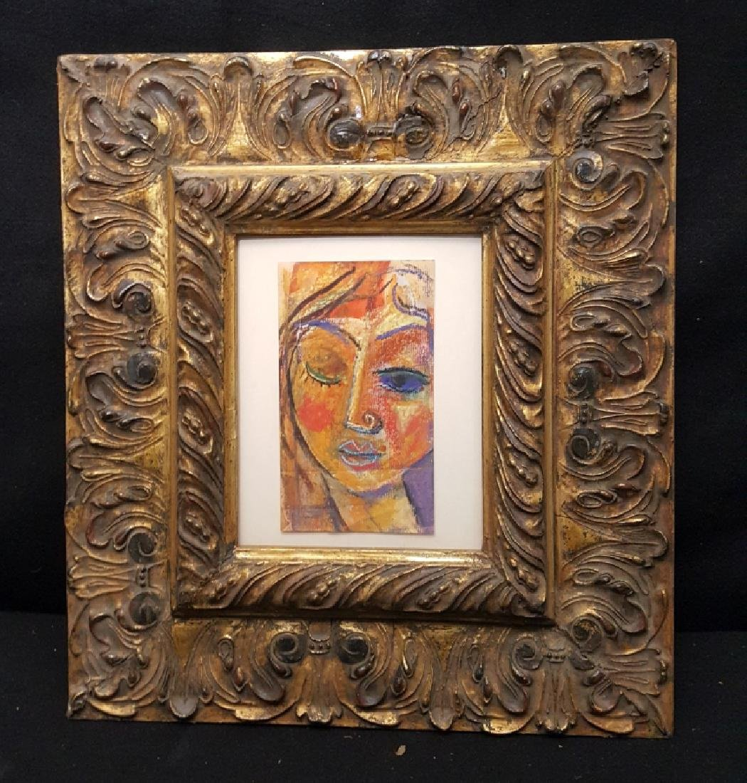 Framed Cubist Drawing In Watercolor & Chalk