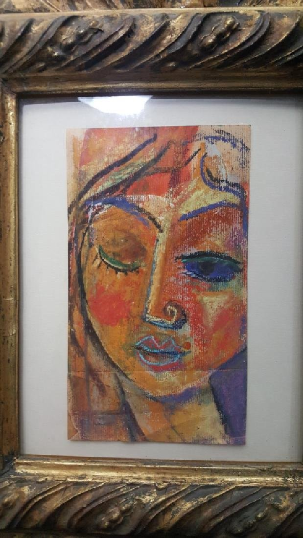 Framed Cubist Drawing In Watercolor & Chalk - 2