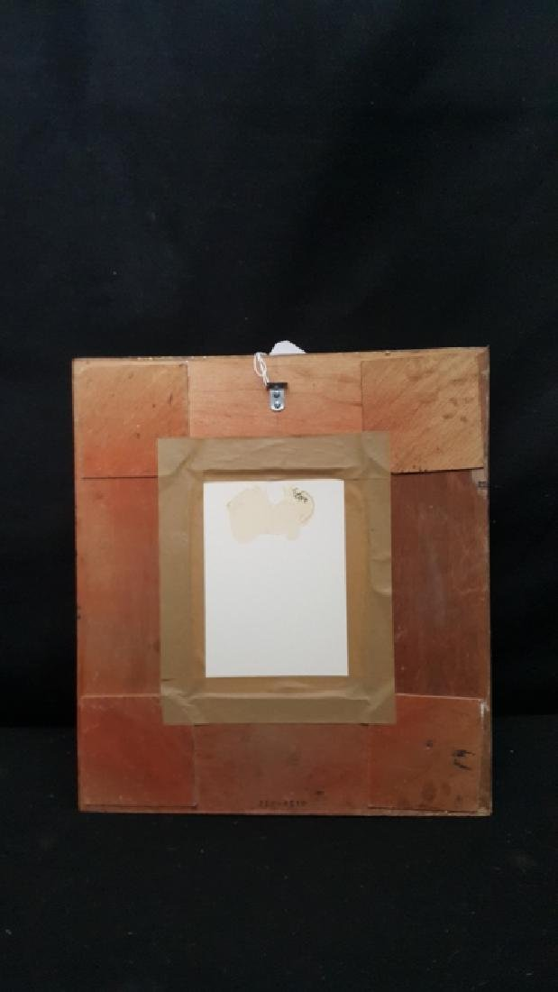 Framed Cubist Drawing In Watercolor & Chalk - 3