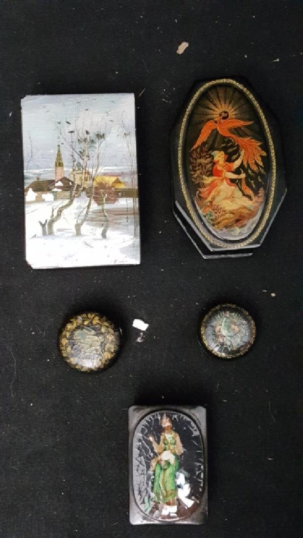 Group of 5 Russian Papier Mache Boxes