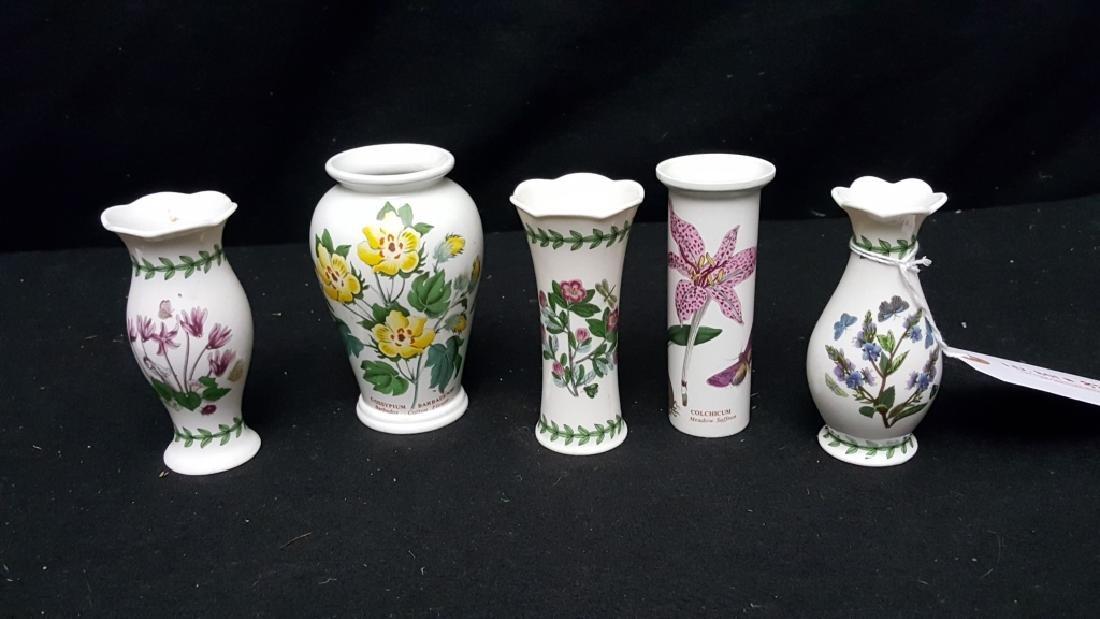 (5) Portmeirion Botanic Garden Pottery Bud Vases