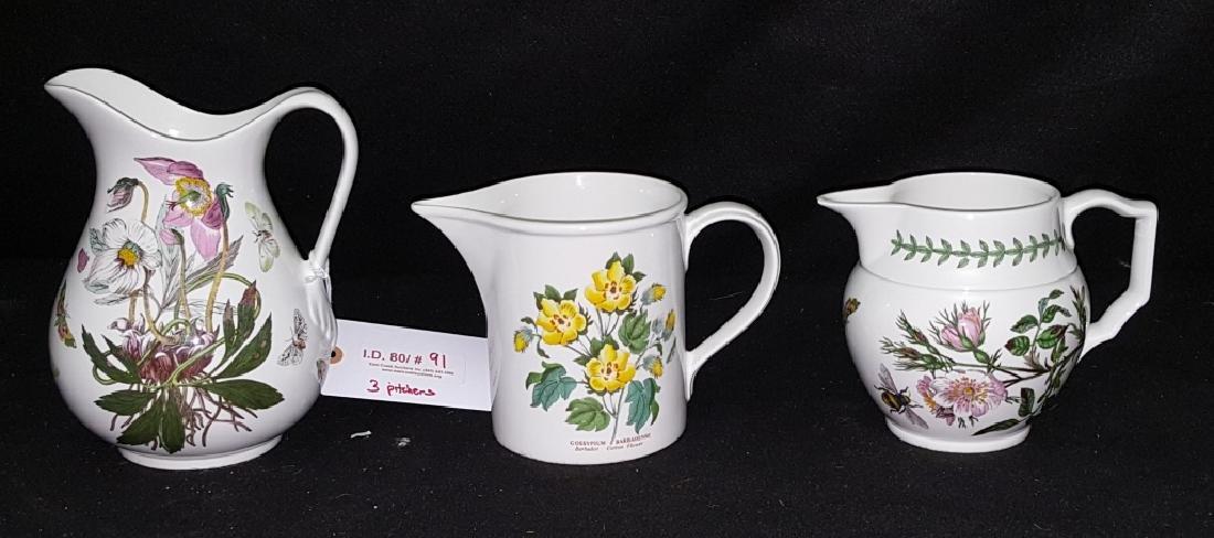 (3) Portmeirion Botanic Garden Pottery Pitchers