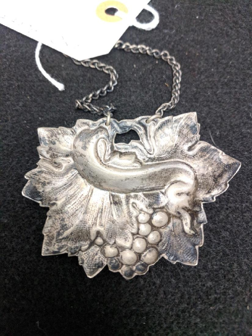 Antique Silver (Silver Plate?) Bottle Tag SHERRY - 3
