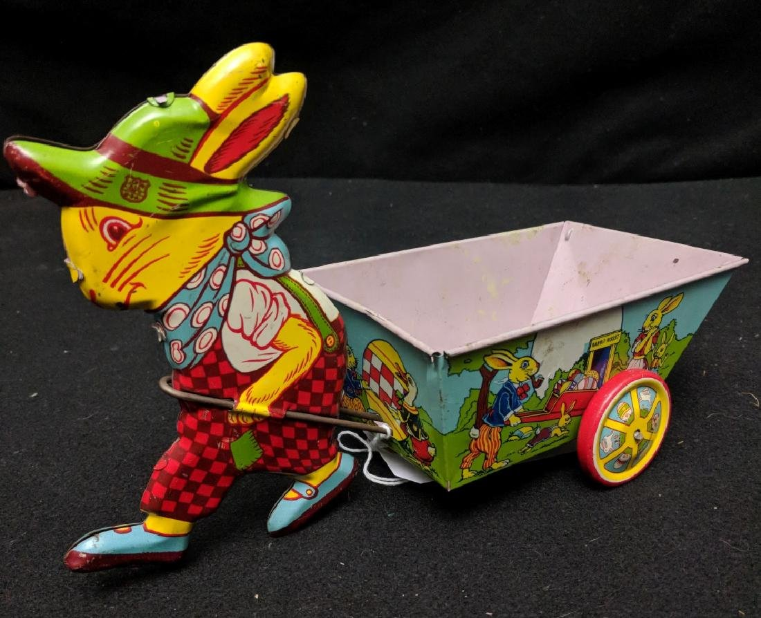 J. Chein & Co. Tin Rabbit Pulling Wagon Toy