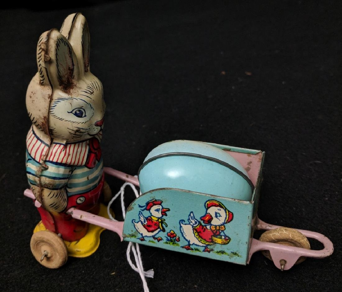 J. Chien Rabbit With Wheelbarrow Easter Toy