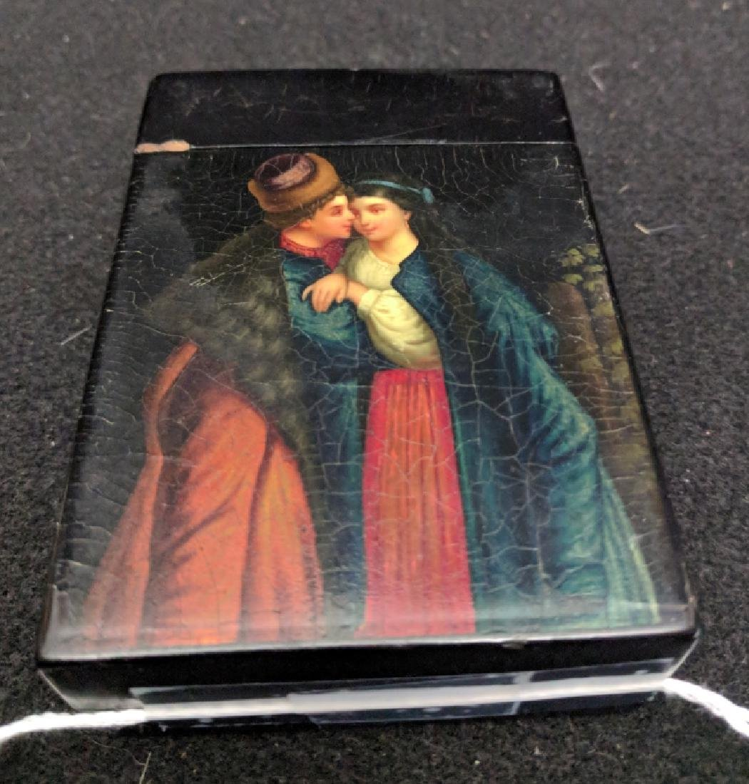 Fine Russian Antique Papier Mache Playing Card Box