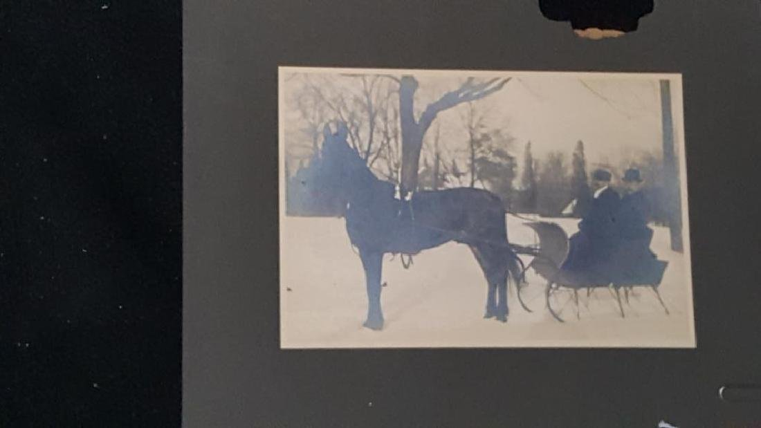 Antique Large Format Photo Horse & Sleigh Sled