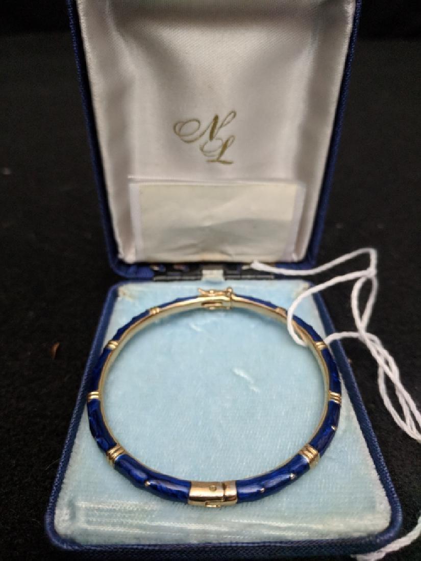 Fine Quality Blue Enamel Bracelet Unmarked