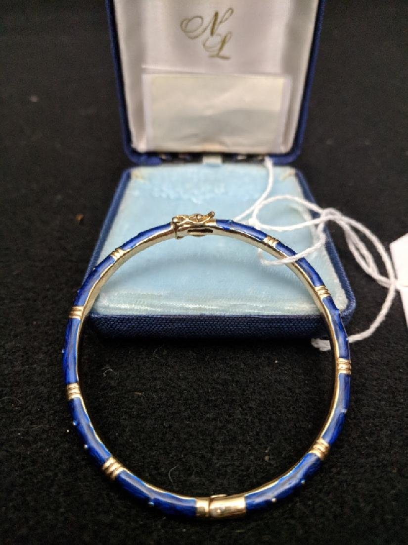 Fine Quality Blue Enamel Bracelet Unmarked - 2
