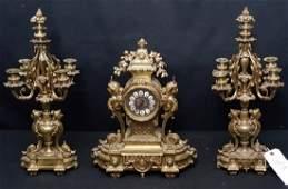 French Gilt Bronze Clock Garniture S. Marti