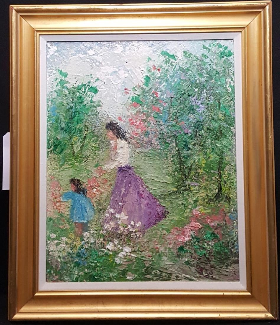 Zaza Meuli Original Oil On Canvas, Picking Flowers