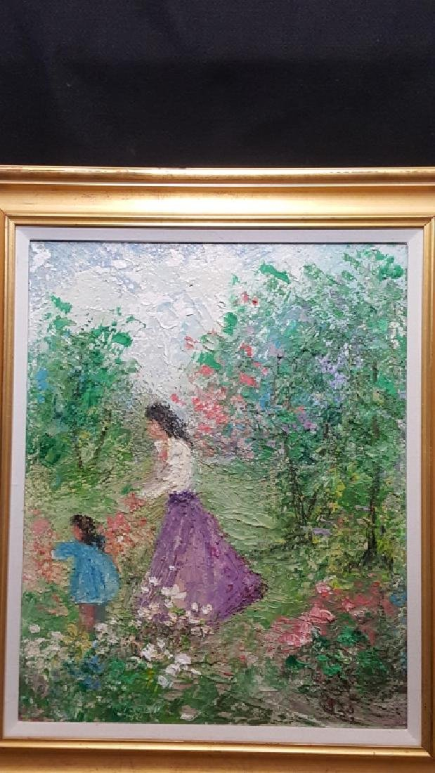 Zaza Meuli Original Oil On Canvas, Picking Flowers - 2