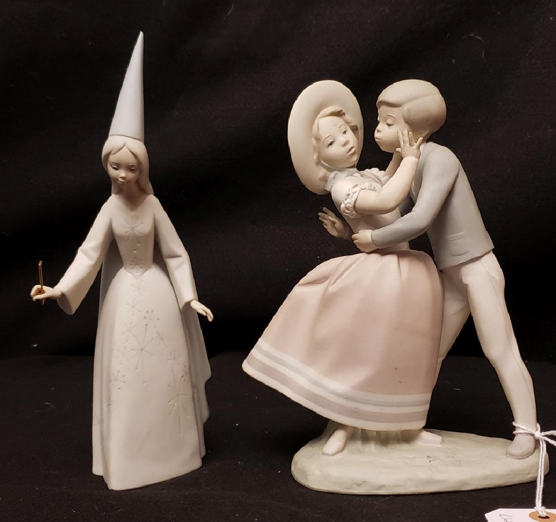 Lladro Boy Kissing Girl And Good Witch Figures