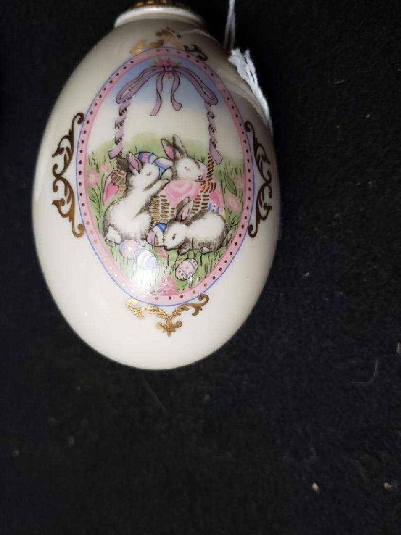 (3) Hand Painted Lennox China Treasure Eggs - 2