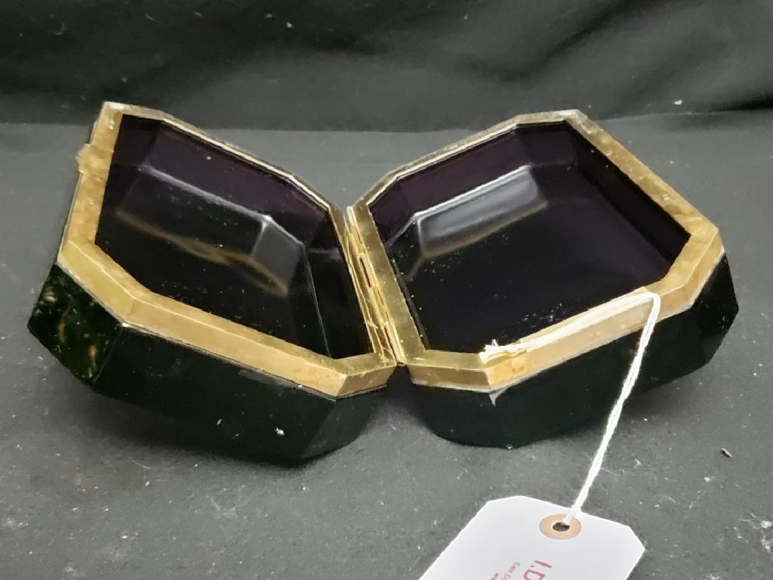 Antique Ameythst Cut Glass Dresser Box - 2