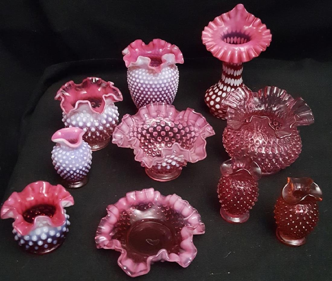 Hobnail Cranberry Glass Collection