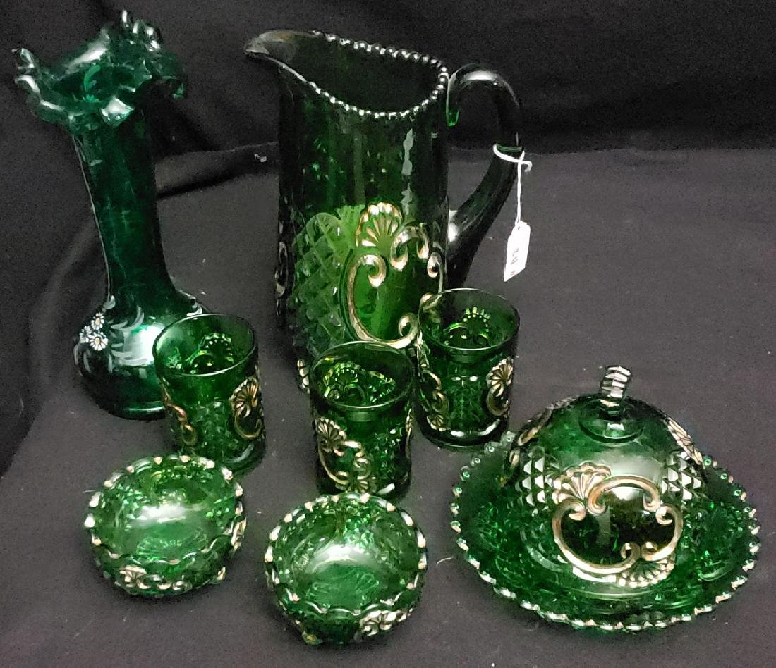 Large Lot: Green American Pressed Glass Some Gilt