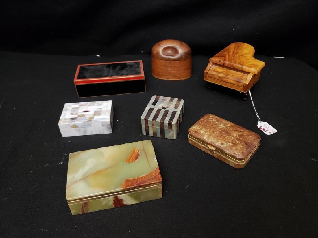 (7) A Collection of Wood, Tile and Stone Boxes