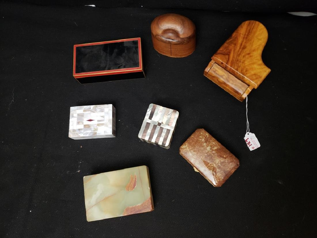(7) A Collection of Wood, Tile and Stone Boxes - 2