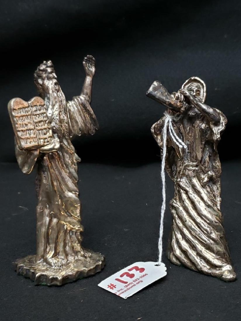 (2) Judaica Moses Silver Twafi Figurines