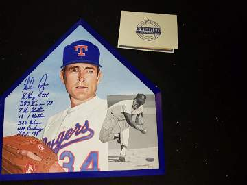 Nolan Ryan Painted on MLB Home Plate & Autographed