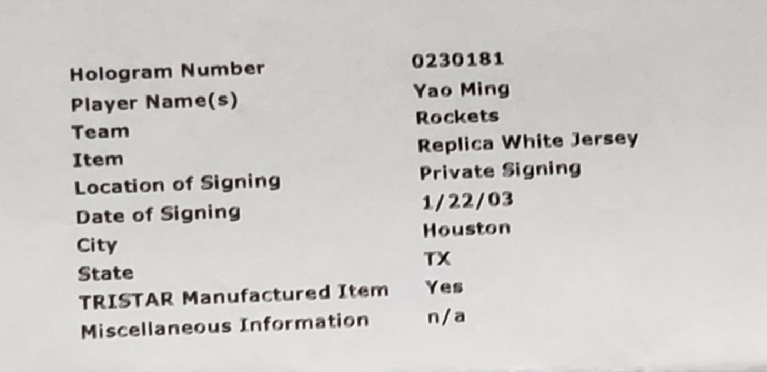 Yao Ming #11 Autographed Houston Rockets Jersey - 10