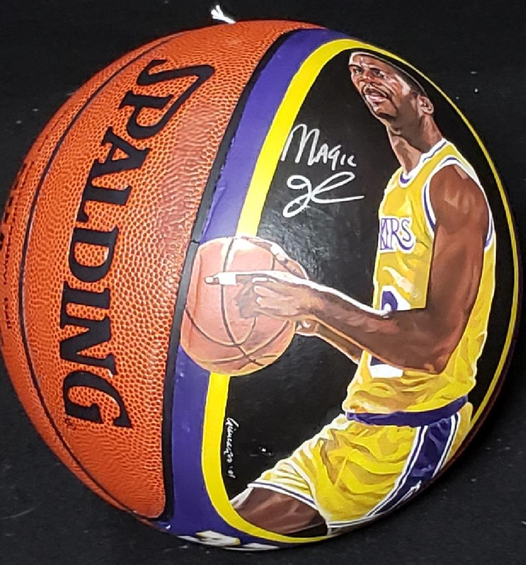 Magic Johnson Artist Painted & Signed Basketball