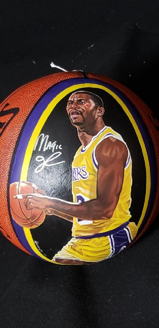 Magic Johnson Artist Painted & Signed Basketball - 2