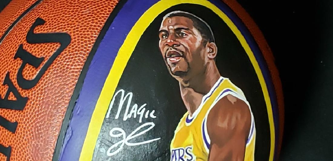 Magic Johnson Artist Painted & Signed Basketball - 3