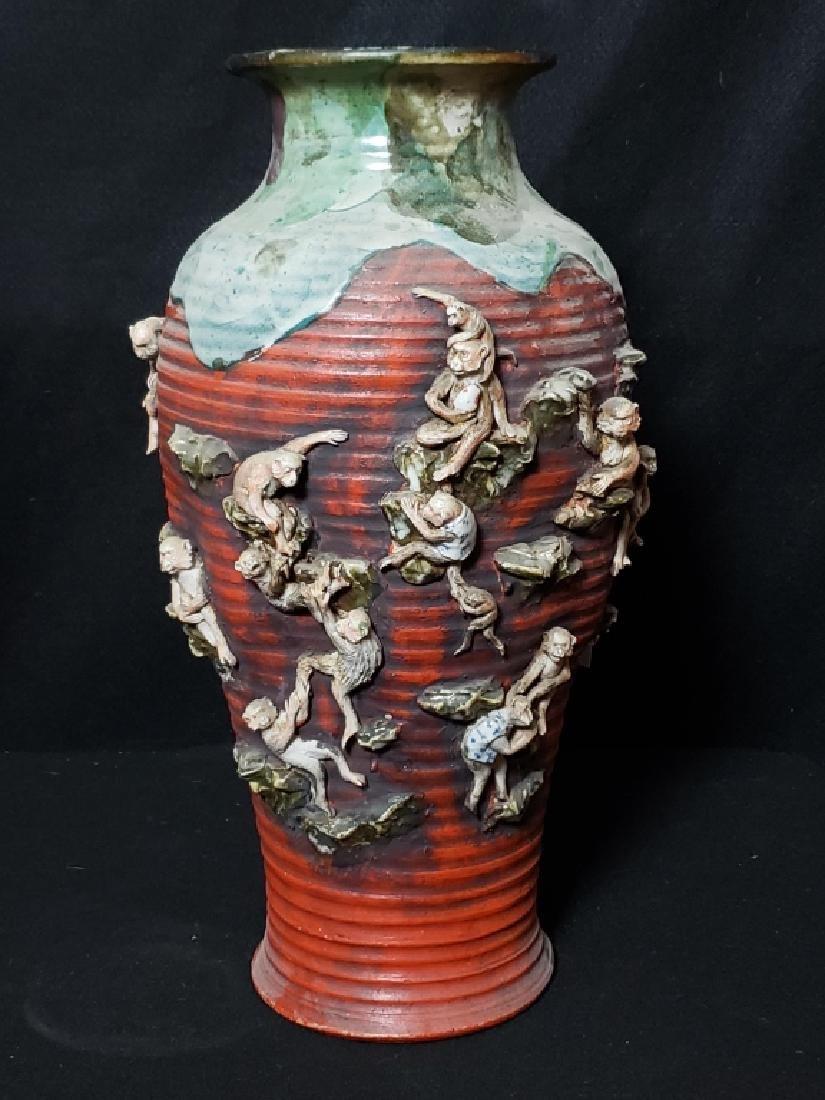 Large Sumida Gawa Vase With Monkeys